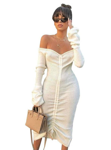 WOMEN WHITE SLASH NECK LONG SLEEVE CLUB PARTY DRESS