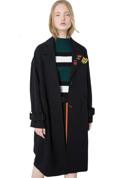WOMEN BLACK LOOSE SOFT LONG TRENCH COATS