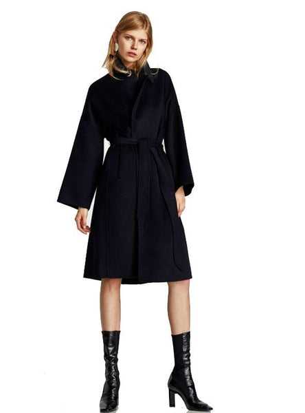 WOMEN COAT TURN-DOWN COLLAR BELTED