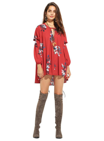 FLORAL PRINT FASHION SLEEVE CHIFFON MINI DRESS CUTE