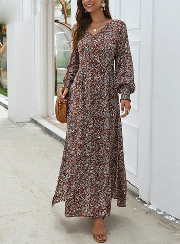 SLEEVE SPRING LONG ELEGANT RETRO BOHO DRESS