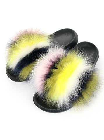 REAL FOX FUR SLIDES MIXED FUZZY FLAT FUR SHOES