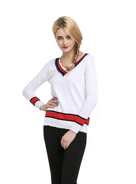 V-NECK LOOSE TOPS PREPPY STYLE WARM SOFT STRIPED SWEATSHIRTS