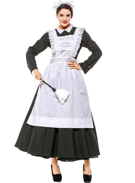HALLOWEEN MAIDS DRESS AS FRENCH MANOR SERVANTS