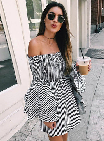 OFF SHOULDER STRIPE PARTY LADIES CASUAL DRESS LONG SLEEVE