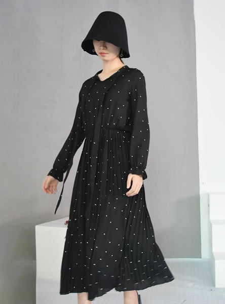 ROUND NECK LONG SLEEVE SOLID BLACK CHIFFON DOT LOOSE DRESS