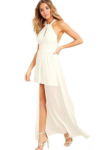 SOLID WHITE HALTER CUT OUT LACE SPLIT MAXI DRESS