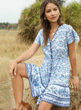 FLORAL SHORT SLEEVE SPLIT-JOINT BOHEMIAN SHORT DRESS