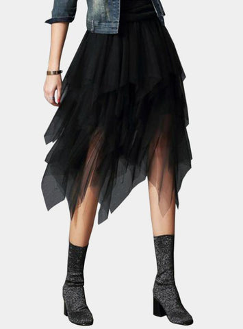 High Waist Mesh Tutu Skirt Pleated Long Skirts Midi Skirt