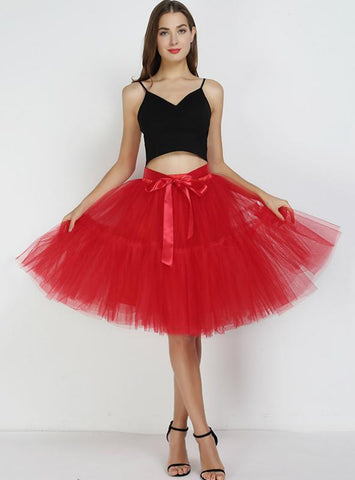 PETTICOAT 5 LAYERS TUTU TULLE SKIRT VINTAGE MIDI PLEATED SKIRTS