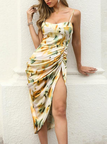 PRINT SPAGHETTI STRAP HIGH SLIT RUCHED DRESS