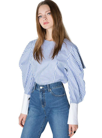 TOP SHIRTS ZIPPER FASHION LOOSE SPRING BLOUSES