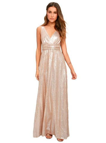 PINK SEQUIN SEXY MAXI DRESS DEEP V-NECK SLEEVELESS