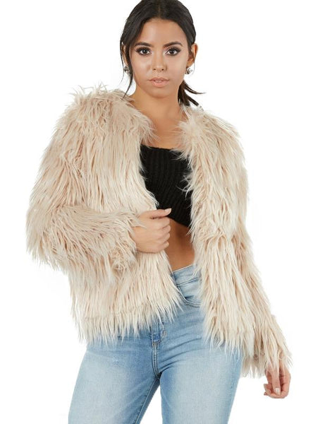 FAUX FUR COATS O-NECK LONG SLEEVE THICK