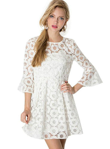 MINI DRESS WOMEN LACE CONTRAST WHITE SWEET CASUAL