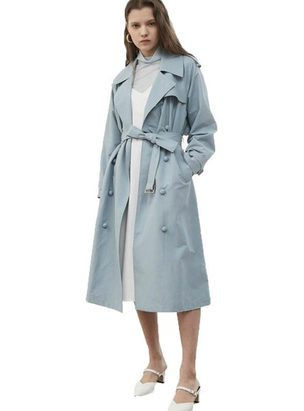 OVERSIZE WINDBREAKER BLUE SOLID TRENCH COATS