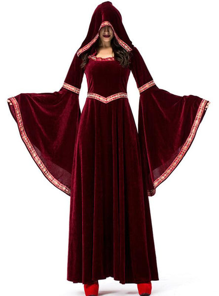 HALLOWEEN WINE RED VAMPIRE WIZARD COSTUME