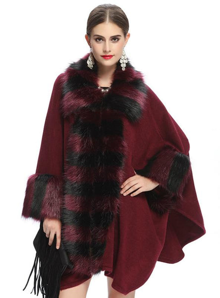 FOX LIKE FUR COLLAR KNITTED CARDIGAN SHAWL COAT
