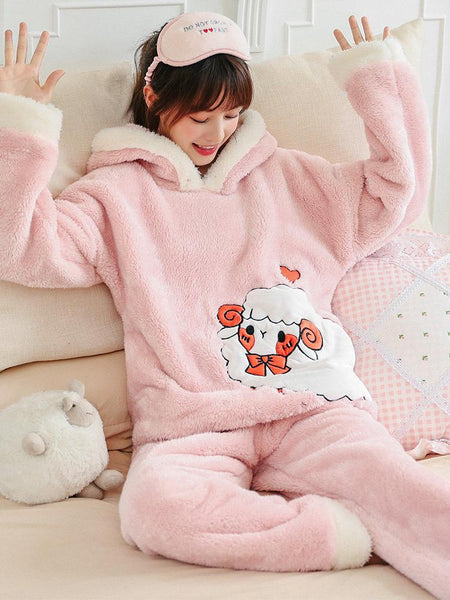 PINK SHEEP WINTER CORAL FLEECE PAJAMAS LADIES THICKENING