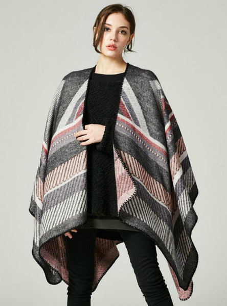 CASHMERE LIKE CAPE LARGE FRAME JACQUARD SPLIT SHAWL