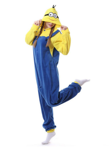 BLUE CUTE MINIONS ONESIE PAJAMA WARM ANIMAL SLEEPWEAR