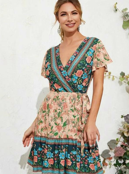 SLEEVES FLARED SLEEVES BEACH DRESS