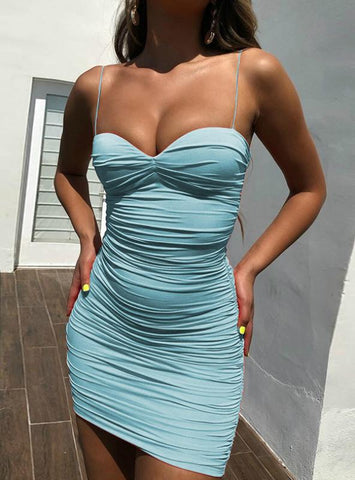 SPAGHETTI STRAP RUCHED SEXY SUMMER DRESS