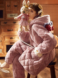 PINK THREE-LAYER QUILTED JACKET THICK WARM CORAL FLEECE