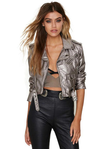PU LEATHER COAT FAUX LEATHER SUEDE JACKET BIKER
