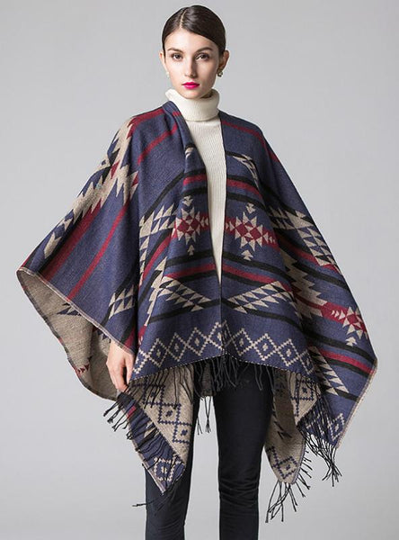 GEOMETRIC RHOMBIC TASSEL CAPE WITH SPLIT SHAWL