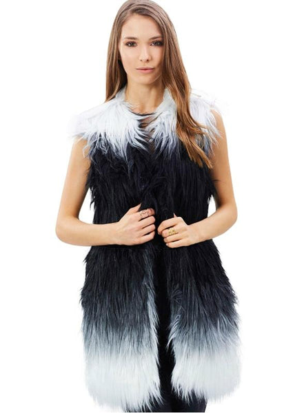 BLACK WHITE CASUAL SLEEVELESS FAUX FUR COAT