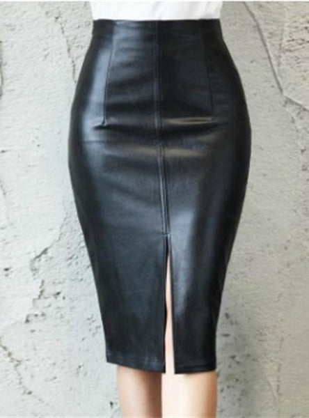 HIGH WAIST BODYCON SPLIT SKIRT OFFICE PENCIL SKIRT