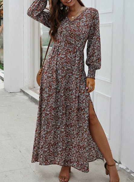 LANTERN SLEEVE V-NECK MAXI LONG DRESS