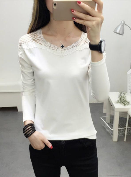 WOMEN'S LACE LONG SLEEVE LACE T SHIRT SLIM