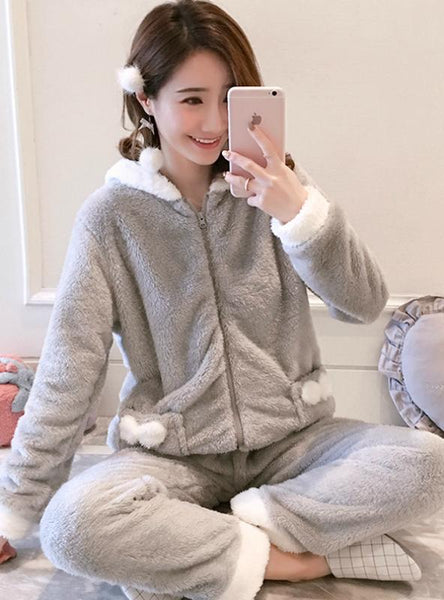 WOMEN GRAY ZIPPER UP VELVET SUIT SLEEPWEAR