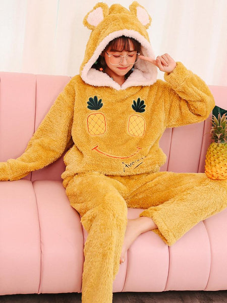 YELLOW PINEAPPLE SMILEY FACE CUTE FLANNEL HOME SERVICE SUIT