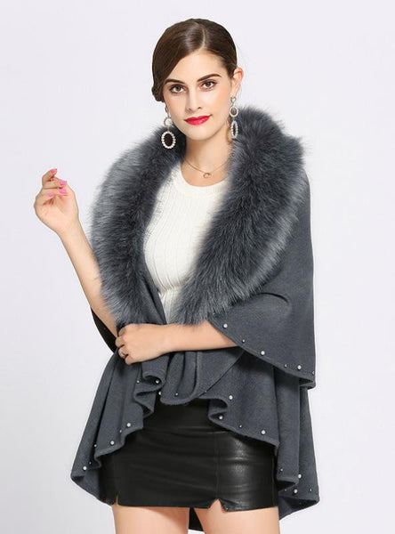 KNITTED SWEATER CARDIGAN FEMALE FOX FUR SHAWL CAPE