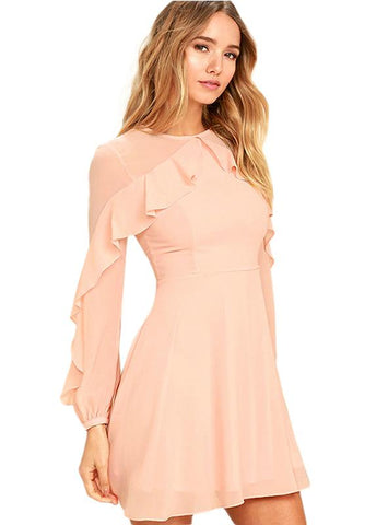 SOLID PINK SWEET RUFFLES A-LINE DRESS WOMEN CLOTHING
