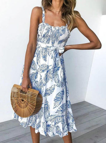 CASUAL BACKLESS BOHO LEAVES PRINT BEACH SLEEVELESS DRESS