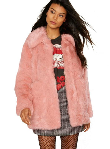 WOMEN FAUX FUR LONG SLEEVE TURN-DOWN COLLAR