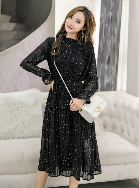 BLACK VINTAGE CLOTHES SPRING LADY LONG CHIFFON DRESS