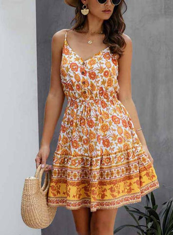 LOSSKY SUMMER WOMEN DRESS BUTTONS COTTON MINI SUNDRESS