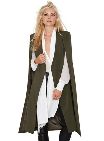 OPEN FRONT BLAZER SUITS WITH POCKET CAPE TRENCH