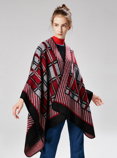 DIAGONAL SMALL PLAID CASHMERE LIKE RETRO SPLIT SHAWL