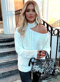 LOOSE SWEATER BARE SHOULDERS KNITTED PULLOVERS