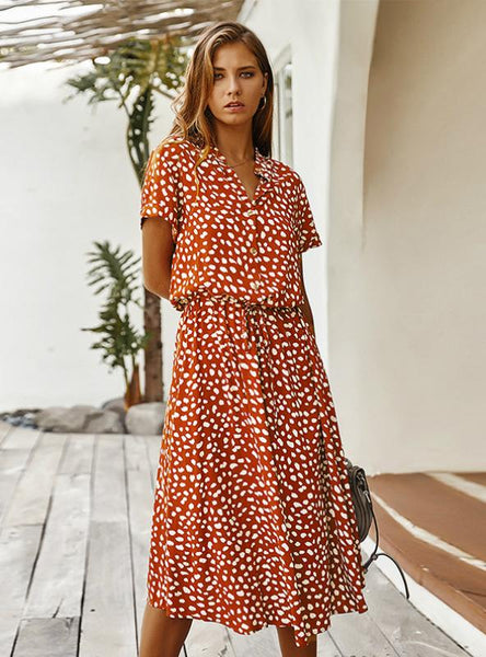 POLKA DOT PRINT DRESS WOMEN HIGH WAIST SASHES DRESS