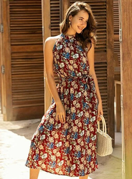 BURGUNDY PRINT HALTER SLEEVELESS BOHEMIA MIDI DRESS