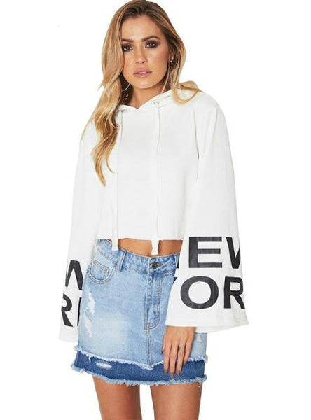 HOODIES FULL SLEEVE LETTER PRINT BELT LADY CROP TOPS