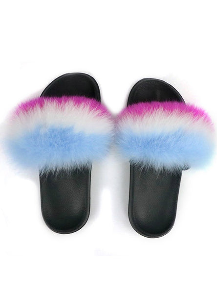 WINTER FLUFFY FUR SLIPPERS WOMEN REAL FOX FUR SLIDES