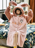 PINK RABBIT FLANNEL LONG SLEEVE THICKENED LOOSE